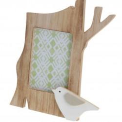 Rama foto Bird, 21.5x13x17 cm, lemn, alb