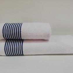 Set 2 prosoape de baie ET.17.005, Class, 100% bumbac, alb/albastru