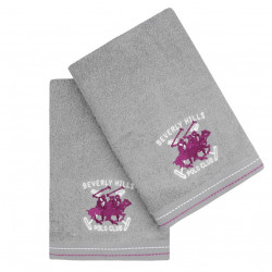 Set 2 prosoape de maini, Beverly Hills Polo Club, 401 - Grey, 50x90 cm, 100% bumbac, gri