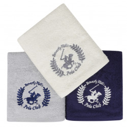 Set 3 prosoape de maini, Beverly Hills Polo Club, 402 - White, Grey, Dark Blue, 50x90 cm, 100% bumbac, alb/gri/bleumarin