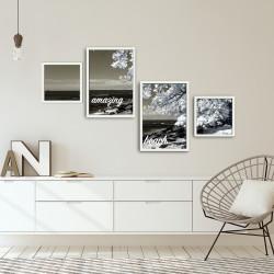 Set 4 tablouri decorative, Alpha Wall, Amazing Beach, 30x30/35x50 cm