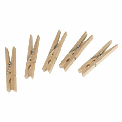 Set 50 de carlige pentru rufe Wenko, 7 x 10 cm, lemn/metal, natur