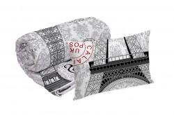 Set Alcam perna microfibra 50x70 cm si pilota matlasata 140x200 cm, Paris