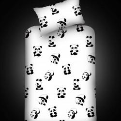 Set cearceaf si fata de perna, EnLora Home, Panda, 100x200 cm, policoton, alb/negru