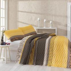 Set cuvertura de pat dubla matlasata, Eponj Home, Miranda Yellow, 3 piese, 65% bumbac, 35% poliester, multicolor