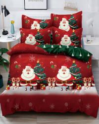 Set Lenjerie Crăciun, Bumbac Tip Finet, Cu Elastic, Pat 2 Persoane, Santa and Raindeers, FNJEC-09