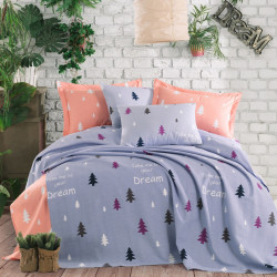 Set lenjerie de pat + cuvertura dubla Takeme - Light Blue, EnLora Home, 4 piese, bumbac, albastru