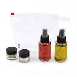 Set recipiente pentru ulei, otet, sare si piper 4 piese Spray Travel, Iris Barcelona, 50 ml/10 ml, sticla