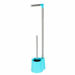 Suport hartie igienica si perie de toaleta Allstar Girona, Wenko, 16 x 69.5 cm, inox/polipropilena, bleu