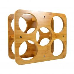 Suport pentru sticle de vin, Jocca, 12 x 22.3 x 26.1 cm, bambus, natur
