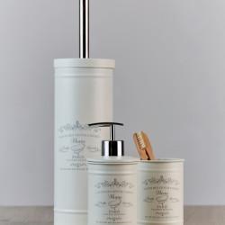 Suport periute si pasta de dinti Paris, Wenko Home, 11.5 x 7.5 cm, otel, ivory
