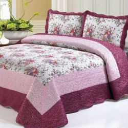 Set Cuvertură Mătase + 2 Fețe de Perne, Elegant Pink Floral, CCM-04