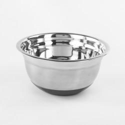 Bol Mini din inox satinat cu baza antiaderenta, Vanora, 22 cm, inox si silicon, argintiu