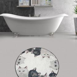 Covoras de baie, Chilai, Angry Cats DJT Çap, gri/negru/bej