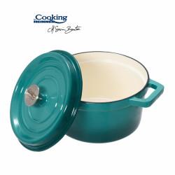 Cratita emailata, Cooking by Heinner, 2.2 l, fonta, bej si bleu