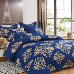Cuvertura de pat + 2 Fete de Perne, Bumbac Tip Finet, Imprimata, Pat 2 persoane, CFI-72