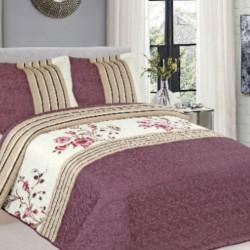 Cuvertura de pat + 2 Fete de Perne, Bumbac Tip Finet, Imprimata, Pat 2 persoane, CFI-82