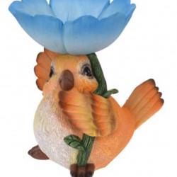 Decoratiune Bird with flower, 19x16x20.5 cm, polistone, albastru/portocaliu