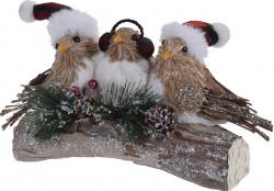 Decoratiune de Craciun Birds, 27.5x14x14 cm, lemn/polispuma, multicolor