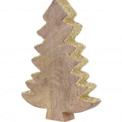 Decoratiune Xmas Tree, 15x3x22 cm, lemn de mango, margele aurii