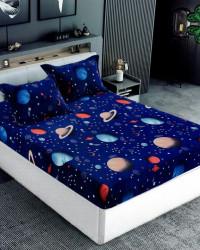 Husa de Pat Cocolino cu Elastic cu 2 Fete de Perna pentru Pat Dublu, Planete Univers, HBCT-15