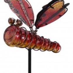 Lampa de gradina Dragonfly, 20x6x105 cm, metal, rosu