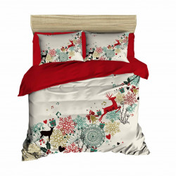 Lenjerie de pat, 2 persoane, Pearl Home, Christmas forest, 4 piese, Policoton, print 3D