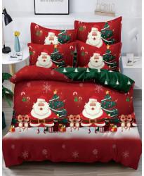 Lenjerie de Pat din Finet cu 2 Fete, 6 Piese, Pat 2 Persoane, Merry Christmas, FNJC-07