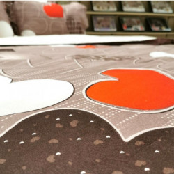 Lenjerie de Pat Finet - 2 Fete - Super Elegant Pucioasa - Black & Red Hearts