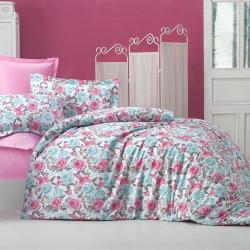 Lenjerie de pat pentru doua persoane, Blue Rose Bedora, 4 piese, 100% bumbac