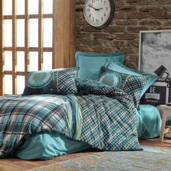 Lenjerie de pat pentru o persoana Enrico - Petrol, Cotton Box, 3 piese, bumbac ranforce, multicolor