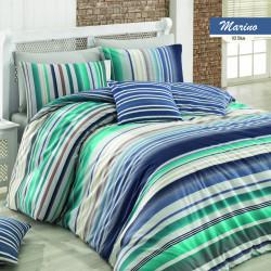 Lenjerie de pat pentru o persoana Marino v1, Majoli Home Collection, 3 piese, 160x240 cm, bumbac ranforce, albastru