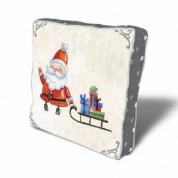 Perna decorativa Santa w sleigh, Christmas, 43x43 cm, policoton, multicolor