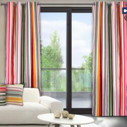 Set 2 draperii decorative, 100% bumbac, Pink Stripes