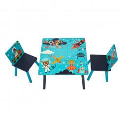 Set 2 scaune si masuta Explore the universe, U-grow, albastru