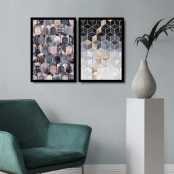 Set 2 tablouri decorative, Alpha Wall, Cubic, 36x51 cm