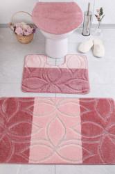 Set 3 covorase de baie Erdek, Confetti, 47x50 cm/50x60 cm/60x100 cm, roz