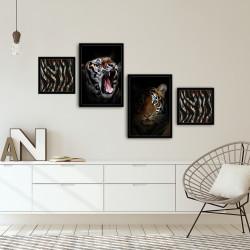 Set 4 tablouri decorative, Alpha Wall, Tiger, 30x30/35x50 cm