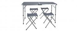 Set camping/picnic, 5 piese, MDF/aluminiu, gri