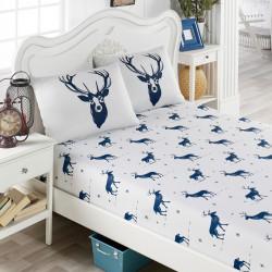 Set cearsaf pat cu elastic si 2 fete de perna, EnLora Home, Geyik, policoton, Alb/albastru