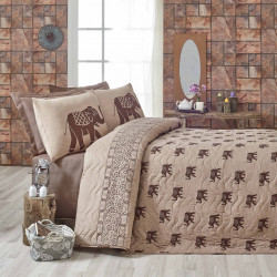 Set cuvertura de pat dubla matlasata, Eponj Home, Fil Brown, 3 piese, 65% bumbac, 35% poliester, maro/cafeniu