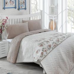Set cuvertura de pat dubla matlasata, Eponj Home, Lustro Brown, 3 piese, 65% bumbac, 35% poliester, multicolor