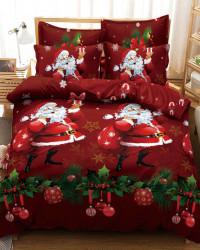 Set Lenjerie Crăciun, Bumbac Tip Finet, Cu Elastic, Pat 2 Persoane, Santa And The Present, FNJEC-10