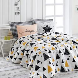 Set lenjerie de pat + cuvertura dubla Ilove - Black a Yellow, EnLora Home, 4 piese, bumbac, negru/galben