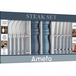 Set pentru friptura, 14 piese, Amefa, BBQ Steak Set, inox/ceramica