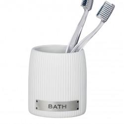 Suport pentru periute si pasta de dinti, Wenko, Bath White, 6.5 cm Ø, ceramica, alb