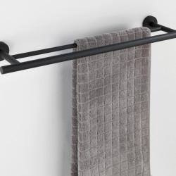 Suport prosoape cu fixare pe perete Duo Bosio, Wenko Power-Loc®, 5.5 x 60 cm, inox, negru