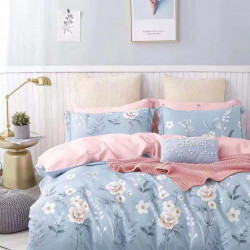 Lenjerie Bumbac 100% - 4 Piese - Pat 2 Persoane - Flowers on Blue - BL4-22