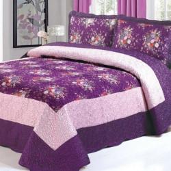 Set Cuvertură Mătase + 2 Fețe de Perne, Elegant Purple Floral, CCM-05