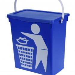 Cos de gunoi cu maner, 12 L, polipropilena, albastru
